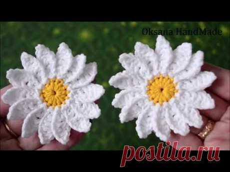 Цветы Ромашки крючком. Flowers crochet pattern.