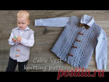 Жилет с косами мальчику спицами | Cable Vest knitting patterns - YouTube