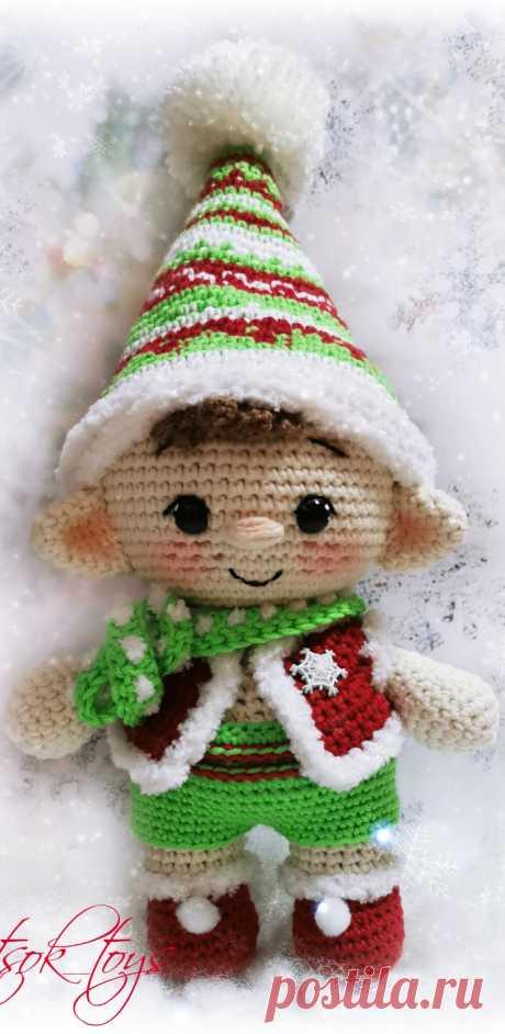 PDF Эльф Рождественский крючком. FREE crochet pattern; Аmigurumi doll patterns. Амигуруми схемы и описания на русском. Вязаные игрушки и поделки своими руками #amimore - пупс, кукла, куколка, эльф.