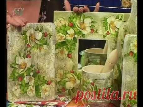 Декупаж кухонной доски, рамочки для зеркала и салфетки. Мастер класс. Наташа Фохтина
