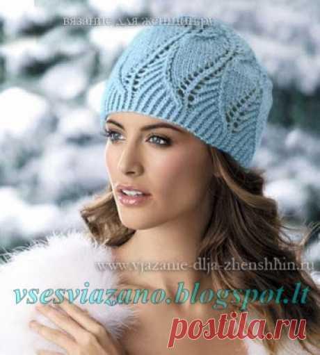 ВСЕ СВЯЗАНО. ROSOMAHA.: Нарядная голубая шапочка к первым холодам.