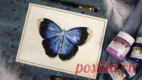 Живопись гуашью. Многослойная техника рисования. Рисуем бабочку гуашью. | Творческая студия TAIR | Яндекс Дзен