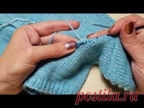 Обвязка горловины (ложная кеттлевка) + закрытие петель иглой по кругу.