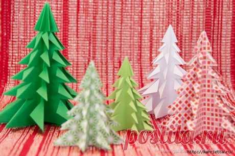 De Año Nuevo elochki del papel en la técnica del origami