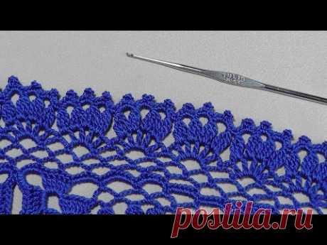 Вязание ажурной КАЙМЫ крючком. Обработка низа юбки.