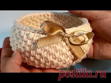 Cesta de crochê - Crochetando com Claudia Stolf