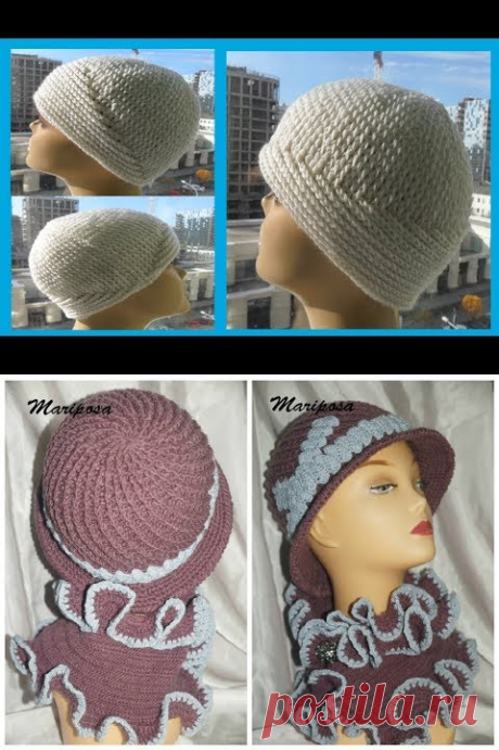 """(4375) ШАПОЧКА """"Два узора"""", рельфные столбики,crochet hat (Шапки № 156) - YouTube"""