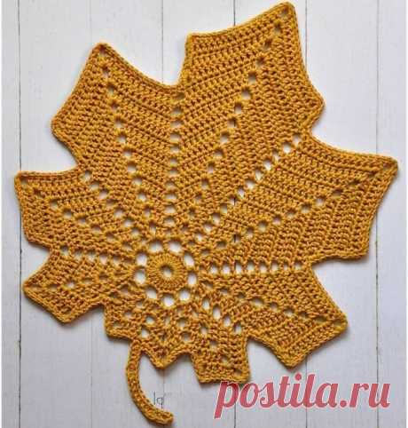 """Подставка """"Листик"""". Крючком. Схема. / knittingideas.ru"""