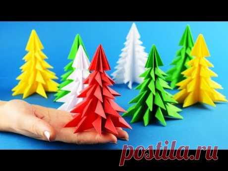 Делаем красивую объемную елку из бумаги за 5 минут
