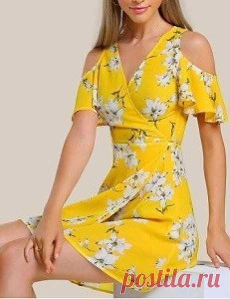 Выкройка платья с запахом и открытыми плечами