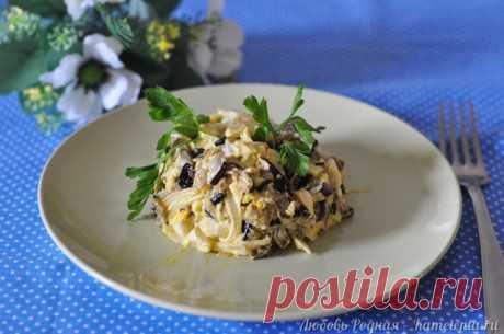 Салат из баклажанов, яиц и лука