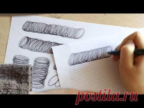 Каллиграфическое упражнение ручкой.