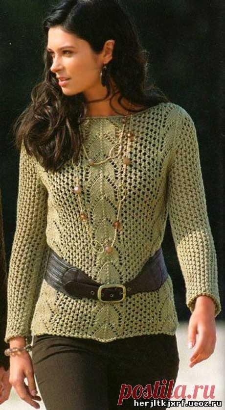 Ажурный джемпер спицами - пуловера.свитера.джемпера - вязание спицами для женщин. - Каталог файлов - Дизайн-студия вязаных изделий.