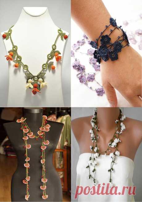 Потрясающие вязаные браслеты и серьги