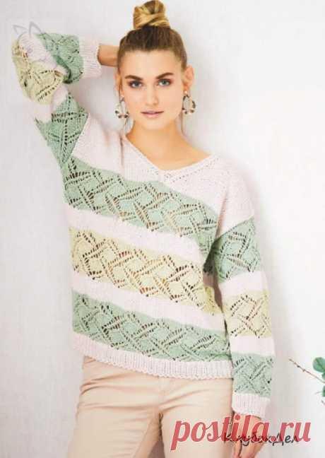 Вязание для женщин спицами - пуловер с полосами узоров: схема с описанием вязания