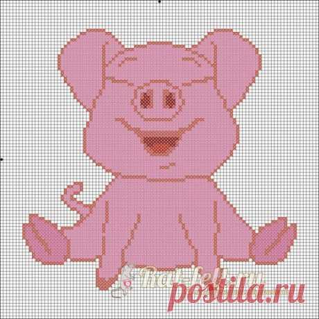 Вышивка крестом, символ года 2019 Свинья: схема
