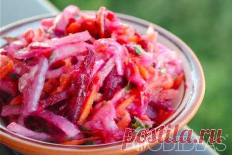 Салат из свежей свеклы с морковью - рецепт приготовления с фото