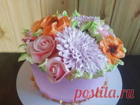 Белково заварное украшение торта. Как украсить торт на День Рождение.