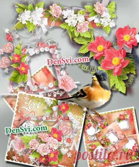 Цветочный скрап набор скачать бесплатно:   https://densvi.com/png/21418-skrap-nabor-lyubovno-cvetochnaya-lirika.html
