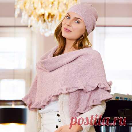 Шапка и платок с оборкой - схема вязания спицами с описанием на Verena.ru