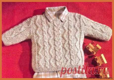 Пуловер с рельефными узорами для мальчика