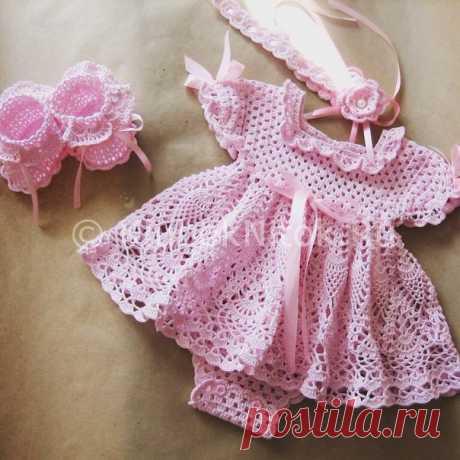 Платье-боди для девочки крючком. Вязание для девочек крючком