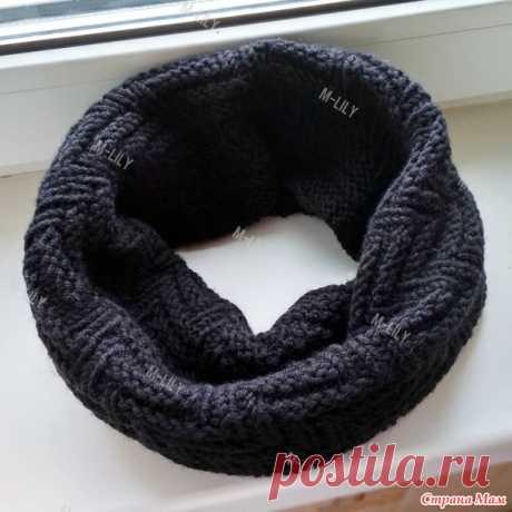 . Лаконичный мужской шарф снуд спицами узором 'рыбий хвост' ('шина', 'протектор') - Вязание - Страна Мам