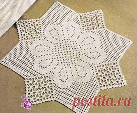 Квадратные коврики связанные крючком по кругу (Вязание для дома) – Журнал Вдохновение Рукодельницы
