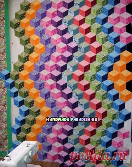 Лоскутное одеяло «Кубики» в технике пэчворк