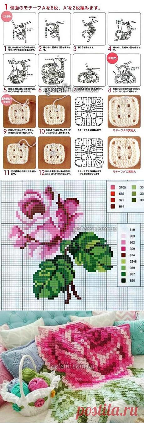 Вяжем по схеме для вышивки: необычный плед из миниатюрных мотивов – В Курсе Жизни