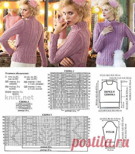 Вязаный спицами пуловер с аранами | knitt.net | Все о вязании