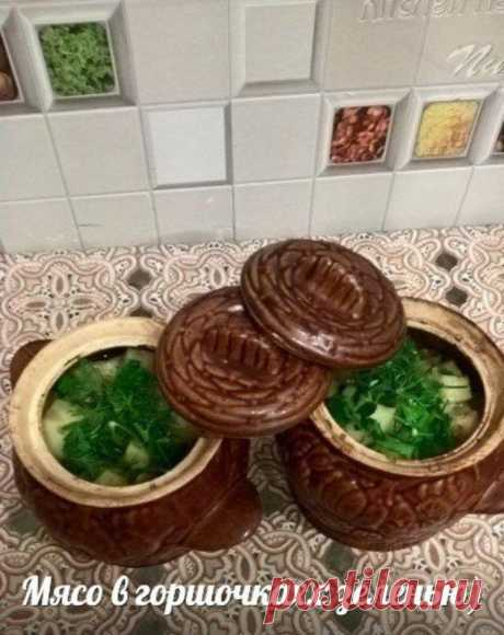 Meat in pots with greens - Simple recipes of Овкусе.ру