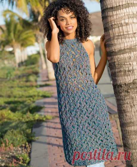 Вязаное ажурное платье на лето