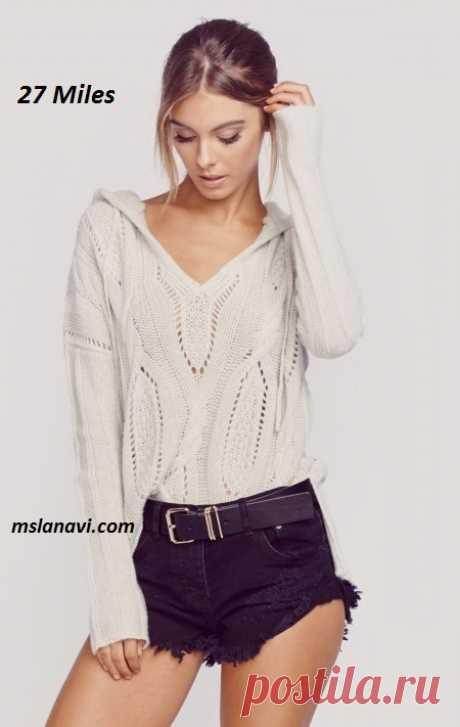 Молодежный пуловер спицами от 27 Miles - СХЕМЫ #ВязаниеСпицами