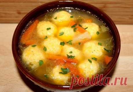 Суп с сырными клёцками
