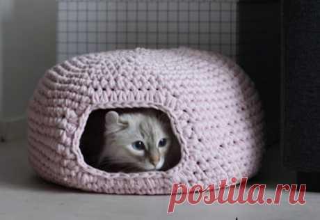 Домик для кошки крючком