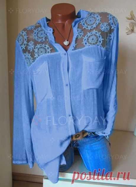 Pубашки Длинные рукава Цвет сплошного V-образный - Floryday