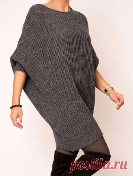 Вязаное платье оверсайз с рукавами летучая мышь спицами — стильно и просто!