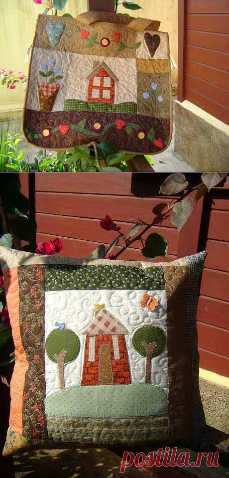 Лоскутные сумки, подушки и другие изделия в стиле пэчворк.