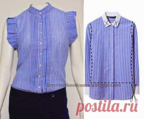 Переделки: Оригинальные блузки из рубашек   Рукоделие