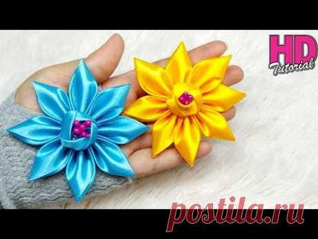 DIY - how to make satin ribbon flower    kanzashi flower    handmade satin ribbon