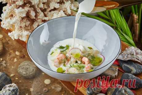 Белая окрошка с морепродуктами, копченой треской и овощами рецепт – русская кухня: супы. «Еда»