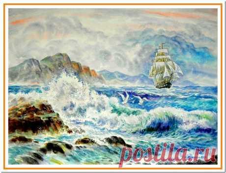 акварель: морской прибой с кораблем