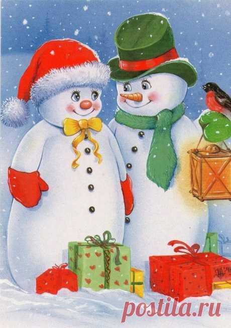 La tarjeta de Año Nuevo con el monigote de nieve por las manos: 14 tys de las imágenes es encontrado en el Yandex. Las estampas