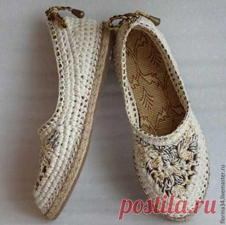 """Купить Балетки вязаные """"Шик"""", р.40, лен, белый - обувь ручной работы"""