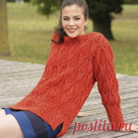 Красный джемпер - схема вязания спицами. Вяжем Джемперы на Verena.ru