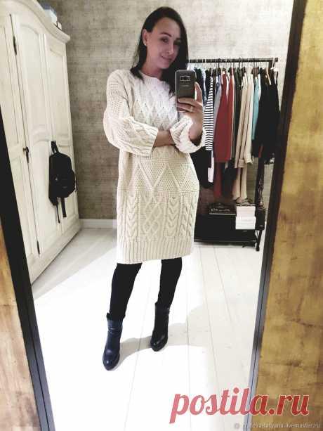Платье оверсайз с аранами и косами – купить в интернет-магазине на Ярмарке Мастеров с доставкой Платье оверсайз с аранами и косами - купить или заказать в интернет-магазине на Ярмарке Мастеров | Так как впереди нас ждут холода, то вязаное…