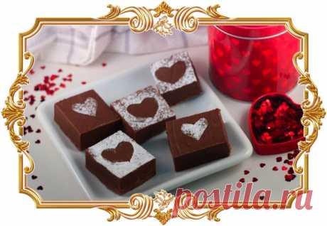 Шоколадный фадж (рецепт ко дню Святого Валентина и не только)  Шоколадный фадж - очень изысканный, элегантный и нежный десерт из шоколада и сгущенного молока. Вкусное лакомство ко Дню всех влюбленных!  Время приготовления: 3 часа 30 мин. Показать полностью…
