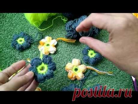 Knitting by a hook for beginners simple tsvetochov\/crochet flovers
