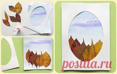 Осенняя открытка из листьев